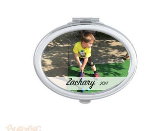 Personalized Compact Oval Mirror