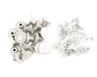 Jeans Buttons - Replacement Denim Jackets Hammer On Pins JB33 - Size 14mm - Matt Silver