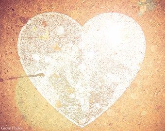 Glowing Heart, Heart Photography, Urban Art, Photography Print, Gift, Decor, Ready To Frame