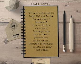 Travel Notebook, Quote Journal, Walt Whitman, Travel, Hardcover Notebook, Chalkboard, Spiral Notebook,  Notebook, Bullet Journal