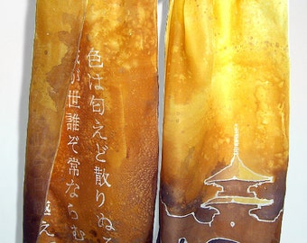 Long silk scarf JAPANESE GOLD silk scarves pagoda amber scarf Iroha - hand painted golden - inspirational her - gift for her