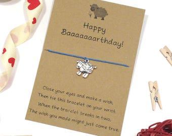 happy birthday bracelet, sheep bracelet, wish bracelet, friendship bracelet, charm bracelet, sheep jewelley, string bracelet, cord bracelet