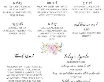 Floral Love Story Wedding Program - Customized and Printable - Digital Download
