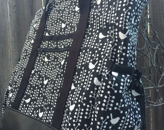 Teacher Tote, Travel Tote, Leather Bottom Large Tote Bag with Pockets, Diaper Bag, Black and White Bird Nurse Tote, Professional Tote