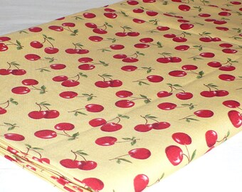 Cherry Fabric, Robert Kaufman.  Cherries, Yellow and Red, Quilting, 1/2 YARD, quilting, sewing, cotton, Destash