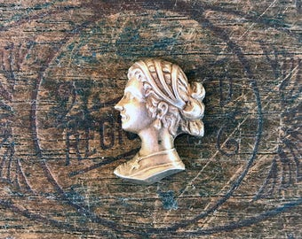 Vintage French Brass Stamping/Antique Style/Neoclassical/Cameo/French Findings