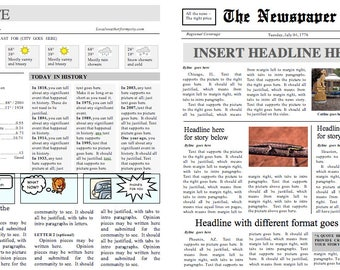 Front page newspaper template ms word document four page folding newspaper template instant download for unlimited use in ms word saigontimesfo