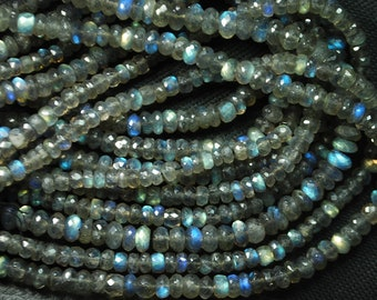 3x14 Inches Super Finest Natural BLUE FLASHY LABRADORITE Faceted Rondelles 4.5-5mm aprx
