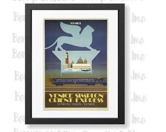 Venice Orient Express Poster, Venice Railway Poster, Simplon Orient Express Art, Italy Travel Poster, Vintage Railway Poster,Venice Wall Art