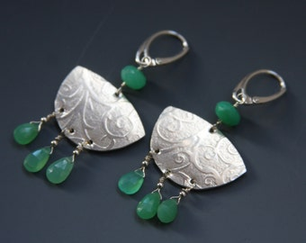 Chrysoprase chandelier textured dangle boho chic earrings in sterling silver with lever backs