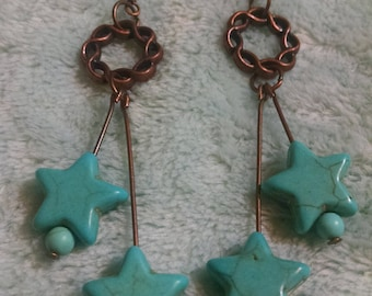 Turquoise and Bronze Dangle Earrings