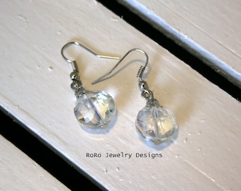 Clear White and Silver Faceted Earrings