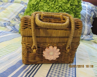 Recipe Box Wicker with Pink Accents Vintage UpCycled Cottage Chic Natural Kitchen Decor Home Decor Storage Gift