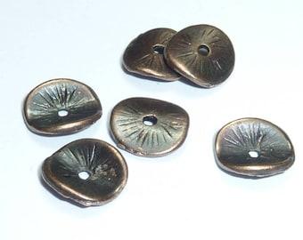 6 10mm decorated copper metal caps