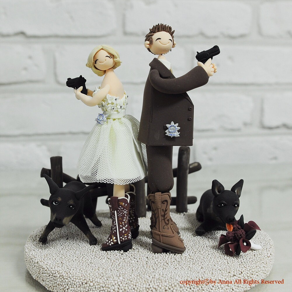 Detective Agent Police officer custom wedding cake topper