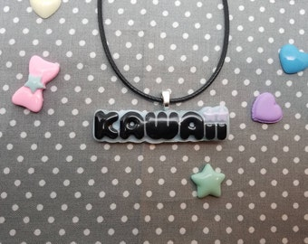 KAWAII word letters lilac stars cute charm resin necklace. For fairy kei, Pastel Goth KAWAII cosplayers  pendant Jewelry *Free Shipping USA*