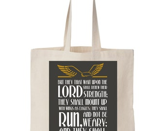 Isaiah 40:51 Scripture On Canvas Tote Bag - Scripture bag, Natural Canvas tote, Scripture Tote, Grocery Canvas tote, 14''w x 16''w.