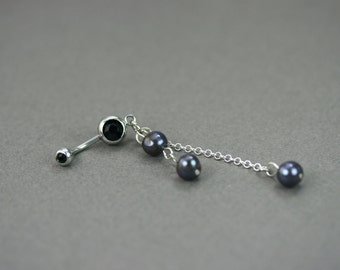 Pearl belly ring, Black, Pearl belly button ring, pearl,  Silver navel bar belly ring piercing barbell, belly ring dangle, Black belly ring
