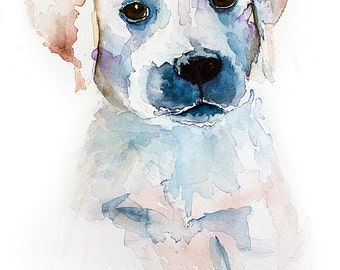 Puppy, Watercolor Dog, Print of Original Water Color, Water Colour Print 8 x10, Nursery Art, Wall Art, Dog Art, Puppy Art