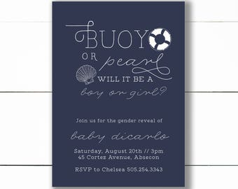 Nautical Gender Reveal Invitation, buoy or pearl Gender Reveal Invitation, gender reveal, summer Gender Reveal Invite, Printable/DIY