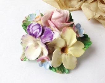 Vintage China Flower Brooch / Flower Brooch / China Flowers / Vintage China Flowers / Unique Brooch / Colorful Brooch