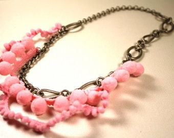 Necklace Matte Oxidized Aluminum Chain Pink Pom Poms  Fashion Under 30 Gifts Ribbon From Your Hair Necklace