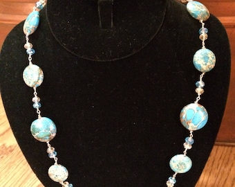 Handmade Jewelry Necklace with Blue Impression Jasper with Small Crystals Longer Length 36 inches