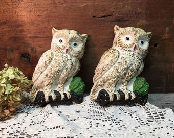 Vintage Chalkware Owls/Plaster Owls/Set of Two
