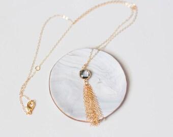 Gold Tassel Necklace, Gold Filled Necklace, Gold Filled Tassel Necklace, Gold Layering Necklace, Gold Layered Necklace, Gold Chain Necklace