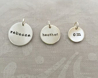Sterling Silver Name Charm disc, select from three different sizes