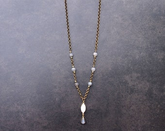 Vintage Stone Necklace with Grey Moonstone Beads; Upcycled Jewelry; Vintage Necklace