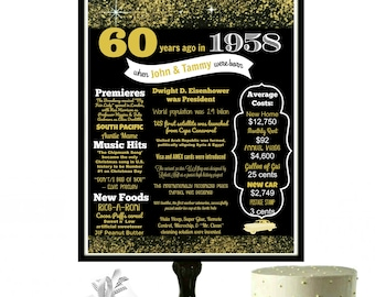 60th Birthday Sign, Black and Gold Party Decor, Golden Birthday Decorations, 60th Birthday Party, 1958 Poster, Glitter Birthday, PRINTABLE