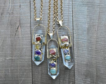 Gold Clear Quartz 4 Chakra Stone Pendant Necklace/ Crystal Quartz Gemstone Point Necklace/ Natural Stone Layering Pendant (EP-GFA11-G)