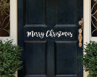 Merry Christmas Door Decal, Christmas Wall Decal, Holiday Decal, Christmas Decal, Christmas Vinyl Decal