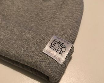 Gray Ribbed Beanie