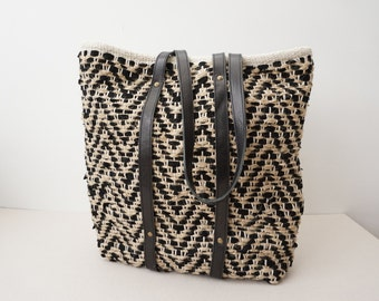 Leather-Trimmed Summer Bag /Woven Leather and Raffia Bag / Beach and City Bag  / Unlined