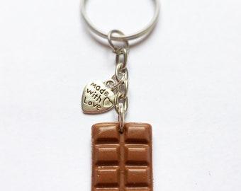Milk chocolate bar key ring