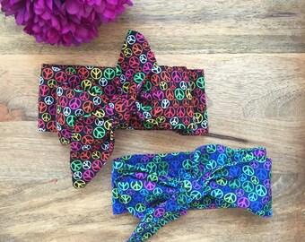 Baby Big Bow Headwrap,Cotton Head wrap, Top Knot Wrap, Black Rainbow, Blue Rainbow Head Wrap, Mini bow on nylon, Alligator clip