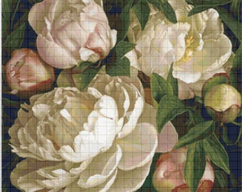BUY 2, GET 1 FREE! White peonies 394 Cross Stitch Pattern Counted Cross Stitch Chart, Pdf Format, Instant Download / 275253
