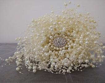 Wedding Bouquet.Beautiful Ivory Pearl Bridal Bouquet. Teardrop Bouquet. Brooch Bouquet.