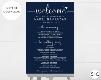 NAVY Wedding Welcome Sign, Program Sign, Wedding Program Sign, Wedding Signage, Wedding Programs, Large Program Sign, DIY Wedding