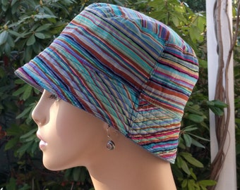 Womens Chemo Hats Cancer Hats 'Denim'  Blue Chambray with Kaffe Fassett designer Reverse   SMALL-MEDIUM