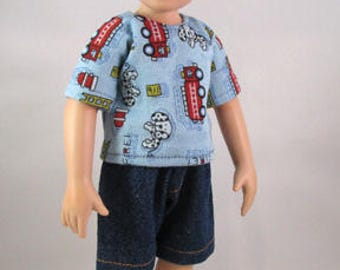 10 inch Doll, Willow's Way Boys, Fire Trucks Tee Shirt