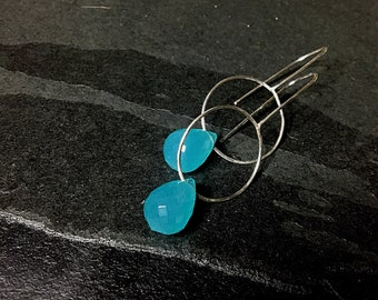 Sterling and crystal teardrop earrings, 3 inches long