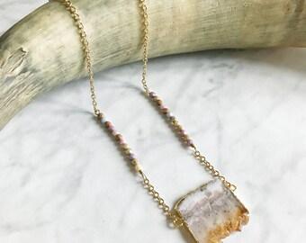 VOLCOM - collier sautoir - collier long chaine - collier pierre, gemmes, bijoux topaze - hiver - géode - pierre semi-précieuses - gypsy