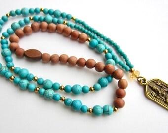 Durga Necklace, Goddess Necklace, Turquoise Necklace, Goddess Charm, Goddess Pendant, Rosewood Necklace, Hindu Goddess, Yoga Charm, Om Charm