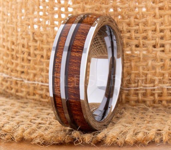 Hawaiian Koa Wood Inlay Ring Rose Gold Tungsten Wedding Band Dome Promise Women Men 8mm New
