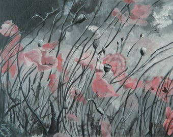 Field of Flowers, Print of Original Acrylic Painting