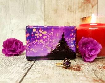 Rapunzel Inspired Double Ring Box / Wedding Ring Box Purple , Tangled Lanterns , Castle