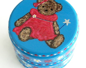 Hand Painted Love Boxes Blue Red America Liberty Teddy Bear Box Wood